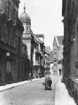 Halle (Saale) – Kleine Brauhausstraße mit der Rückfront der Synagoge